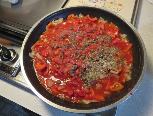 Add tomatoes and seasonings.