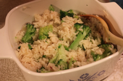 Mix rice into broccoli mixture.