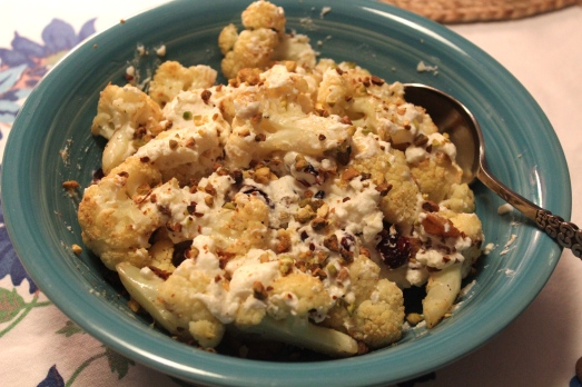 Roasted Cauliflower with Cranberries and Crispy Onions