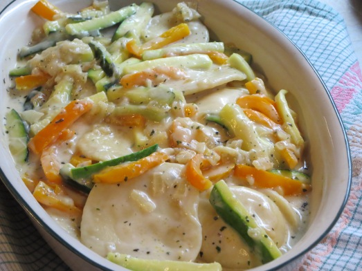 Cheese Ravioli with Zucchini (and peppers)