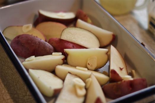 Red-skin potatoes, quartered.