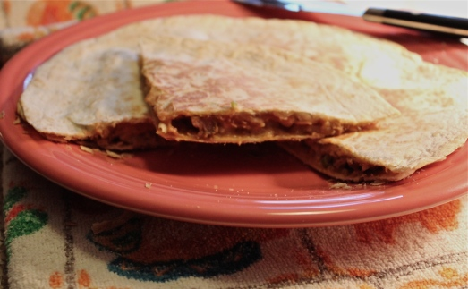Makes a thickly filled quesadilla for a light lunch or supper.
