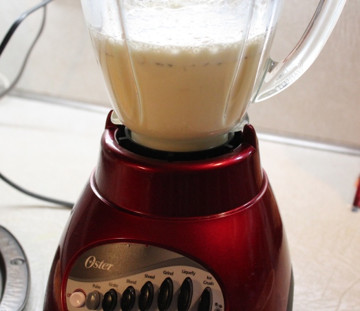 Prepare egg custard in a blender.