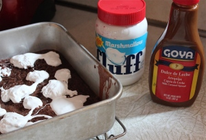 A pan of brownies, + marshmallow creme, + dulce de leche=heaven.