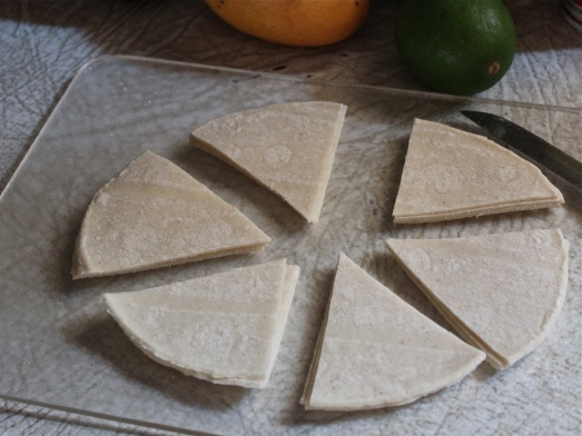 Cut each tortilla into 6 wedges.