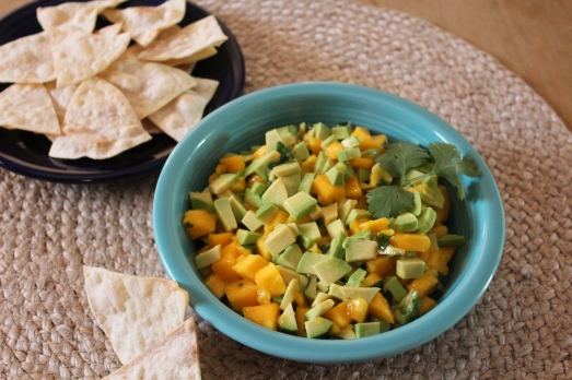 Avocado-Mango Salsa with Baked Pita Chips