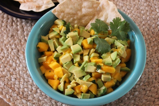 Avocado-Mango Salsa with roast corn chips.