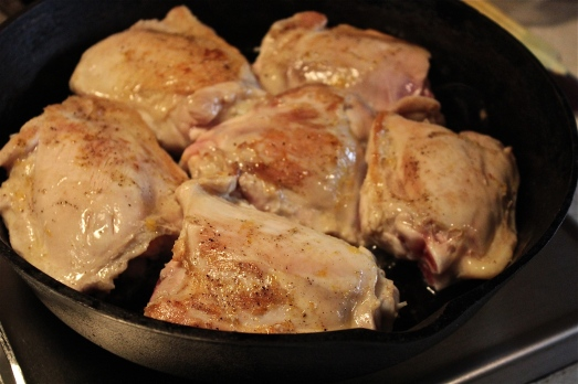 Browning the chicken.