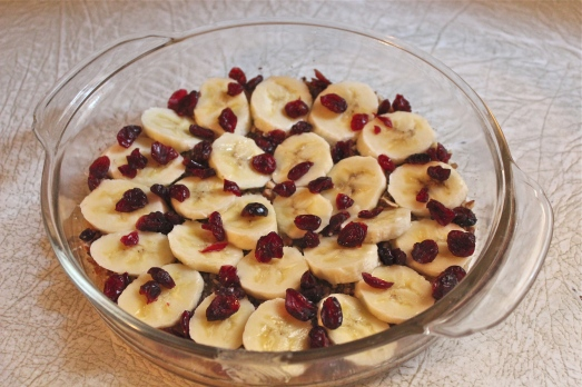 Arrange bananas and remaining ingredients in bottom of cake pan.