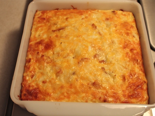 Cheese on top gets browned and crusty.