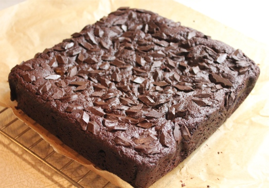 Lift brownies from pan with parchment paper.