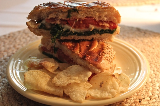 Kale and Melted Cheese Panini