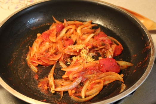Sauté onions and thyme, then add tomato paste and lemon rind.