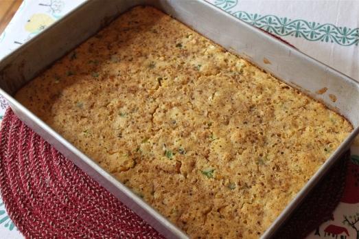 Golden brown on top, moist inside.