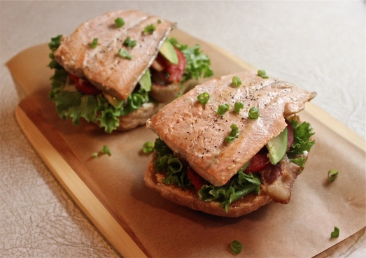 Open-faced salmon and avocado BLT's.
