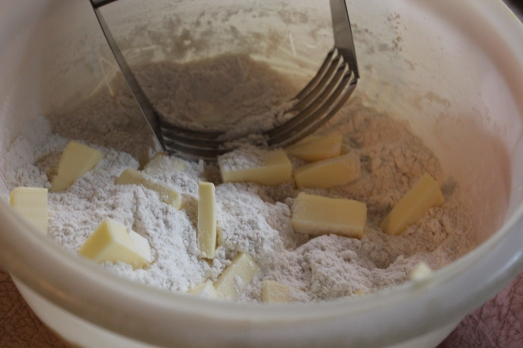 Cut in butter with a pastry blender.