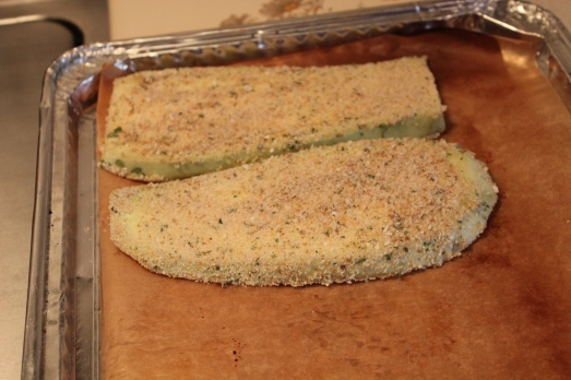 Lay prepared slices on parchment paper-lined baking sheets.