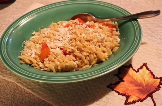 Orzo with tomatoes, (but not the spinach).