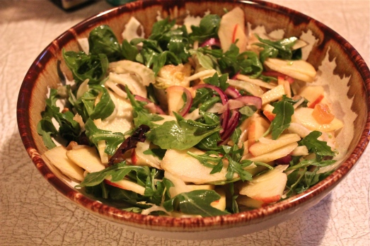 Salad:  Apple+Fennel+Arugula+Apricots+Pistachios