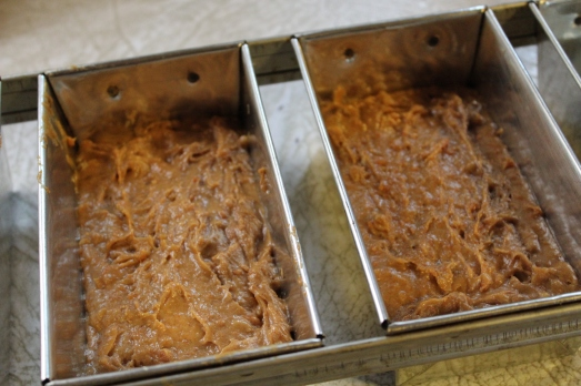 Divide batter between two small loaf pans.