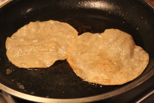 Corn Tortillas get crispy and puffed when cooked in a little oil.