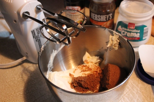 Whip brown sugar with cream cheese.