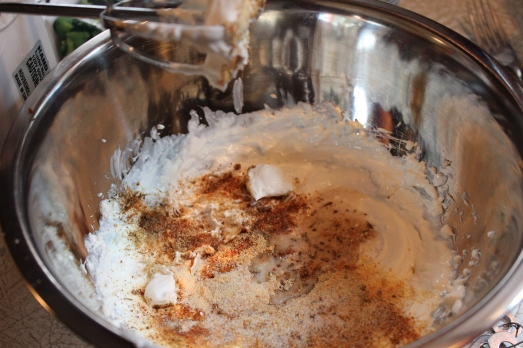 Whip together cream cheese, sour cream, milk and seasonings.