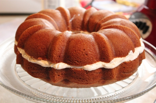 Cream cheese frosting in the middle.