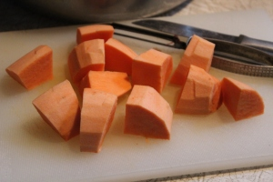 Cut up sweet potatoes into small(ish) cubes.