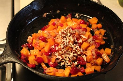 Add seasonings and pecans.