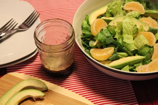 Toss dressing with salad.