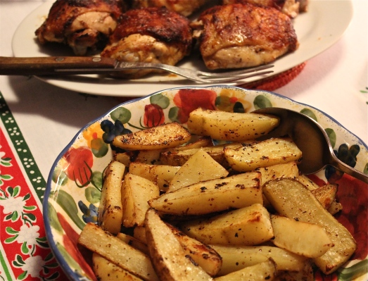 Mustard Chicken Thighs with Rosemary Potatoes