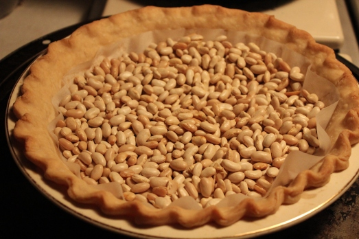 Fill crust with pie weights or beans to prevent air-bubbles.
