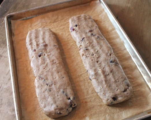 "Form dough into 2 ""logs"" on baking sheet."
