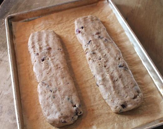 "Form dough into 2 ""logs"" on baking sheet."