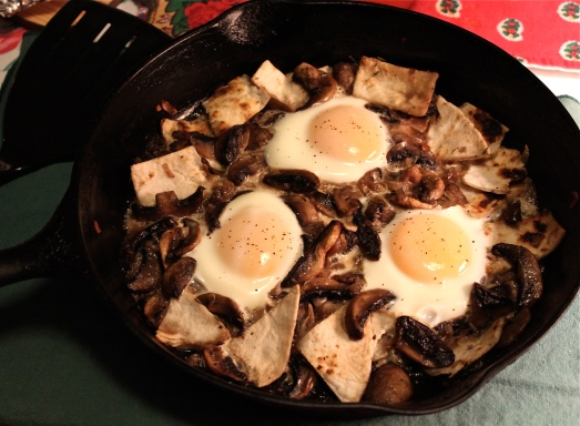 Sautéed Mushrooms with Baked Eggs