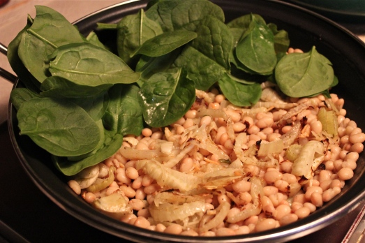Sauté beans then add fennel and spinach.