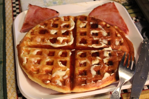 Cute!  A waffle cat appeared on my plate.