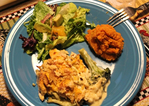 Chicken and Broccoli casserole with mashed sweet potatoes and salad.