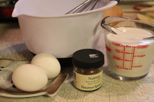 Whisk together eggs, half-and-half and seasonings.